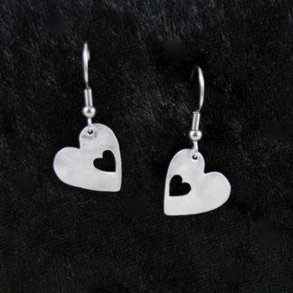 Boucle d'oreilles petit Cœur sur crochet 1.5×1.5cm