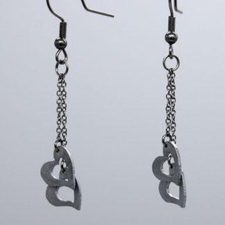Boucle d'oreilles petit Cœur sur chaîne crochet 3.1x1cm