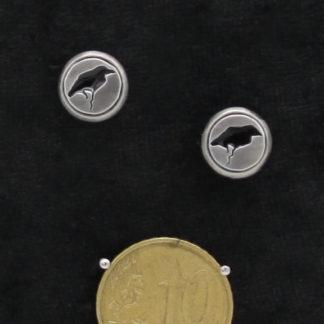 Clous d'oreilles Corbeau HFT type cabochon epoxy noir