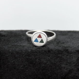 Bague type cabochon aluminium Triforce Zelda inclusion de couleur 10mm