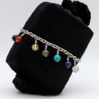 Bracelet 7 Chakras Chaîne perles pendantes et chaîne modèle O
