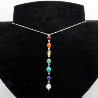 Collier 7 Chakras chaîne perle acier inoxydable modèle O