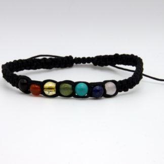 Bracelet 7 Chakras Homme en paracorde fine Noir Modèle O