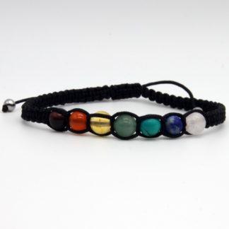 Bracelet 7 Chakras Femme en paracorde fine Noir Modèle O