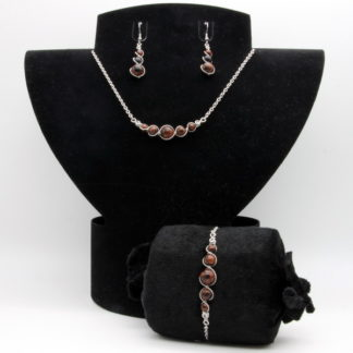 Parure : boucles d'oreilles / bracelet / collier Perles de Obsidienne acajou