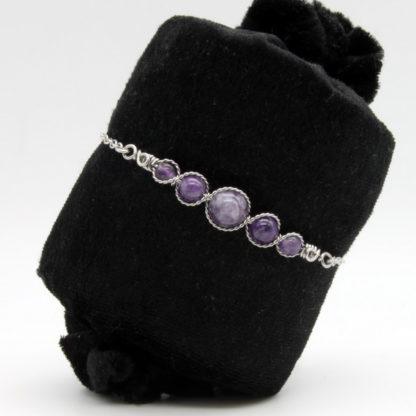 Bracelet Perles de Améthyste.