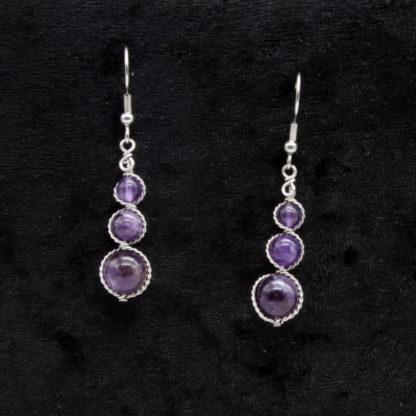Boucles d'oreilles Perles de Améthyste.