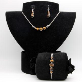 Parure : boucles d'oreilles / bracelet / collier Perles de Œil de tigre.
