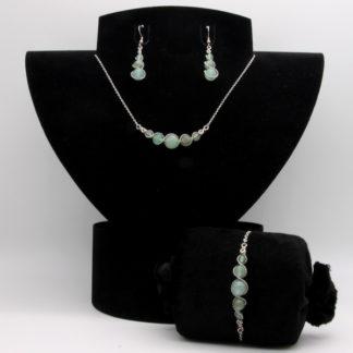 Parure : boucles d'oreilles / bracelet / collier Perles de Aventurine Verte.