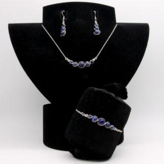 Parure : boucles d'oreilles / bracelet / collier Perles de Lapis Lazuli.
