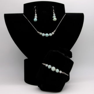 Parure : boucles d'oreilles / bracelet / collier Perles de Amazonite.