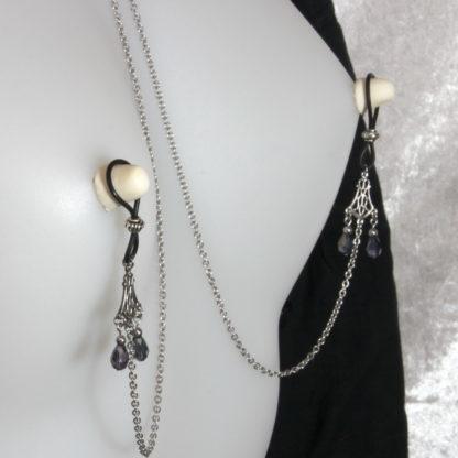 Bijoux pour seins sans piercing. Collier chaîne de seins perle de cristal de bohème grise et hématite argent.