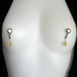 Bijoux pour seins sans piercing, Perle de verre jaune craquelée.