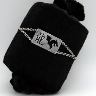 Bracelet Idéogramme et tête de Dragon type gourmette en aluminium sur chaîne acier inoxydable.