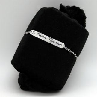 """Bracelet gourmette """"Je t'aime maman"""" en Aluminium montée sur chaîne acier Inoxydable."""