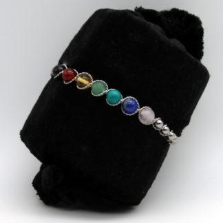 Bracelet 7 Chakras et perle Inox Semi rigide.