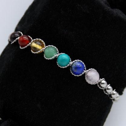 Bracelet 7 Chakras et perle Inox Semi rigide. (Détail)