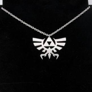 Pendentif Symbole Royal Zelda en aluminium sur chaîne acier inox.