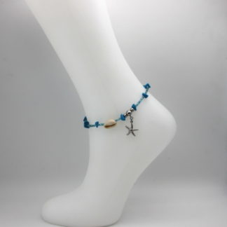 Bracelet de cheville perles bleu claire et turquoise plage.