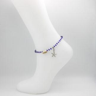 Bracelet de cheville perles bleue marine et translucide Plage.