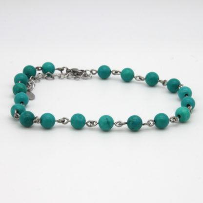 Bracelet de cheville chaîne perlée de turquoise verte.