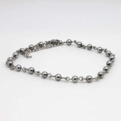 Bracelet de cheville chaîne perlée de perle d'acier inoxydable.