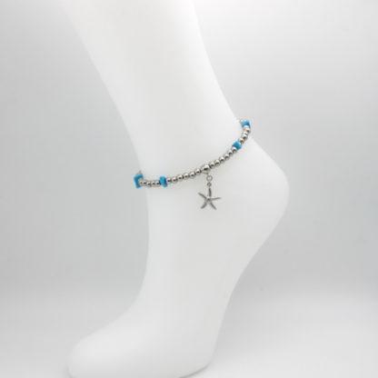Bracelet de cheville perles acier et turquoise plage.