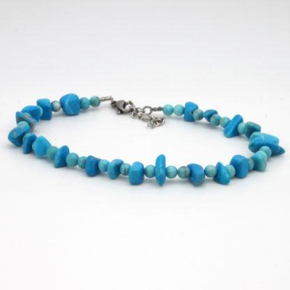 Bracelet de cheville perles de turquoise.