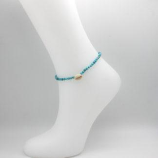 Bracelet de cheville perles de turquoise plage.