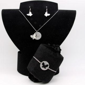 Parure pendentif, bracelet et boules d'oreilles Papillon aluminium sur chaîne Inoxydable