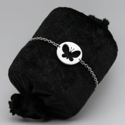Bracelet Papillon aluminium sur chaîne Inoxydable