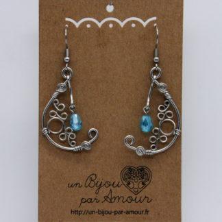 Boucles d'oreilles orientale perle goutte facettée cristal Swarovski.