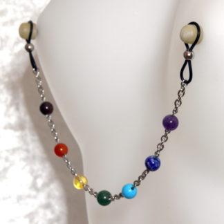 Bijoux pour seins sans piercing, Chaine grande maille, perlée 7 chakras perle de pierre fine 8mm.