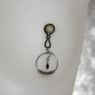 Bijoux pour seins sans piercing, Grande baroque goutte perle de Bohême noire