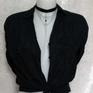 Bijoux pour seins sans piercing. Collier ras de cou Ruban montage baroque et chaîne de seins.