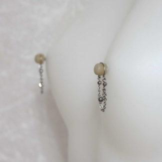 Bijoux pour seins sans piercing. Clip de bout de seins en acier inoxydable chaines 3 billes