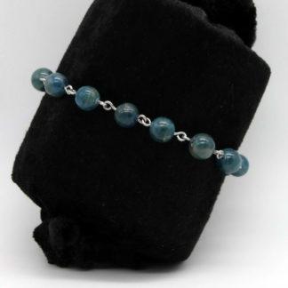 Bracelet chaine perlée en Apatite et acier inoxydable